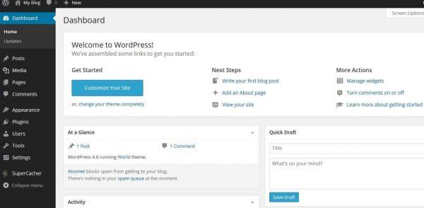aprire sito internet pannello wordpress